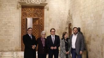 Mas i Junqueras amb Vila d'Abadal, Muriel Casals i Carme Forcadell. EFE