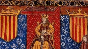 Ferran el Catòlic presidint les Corts Catalanes. Frontis d'una edició incunable de 1495 de les Constitucions
