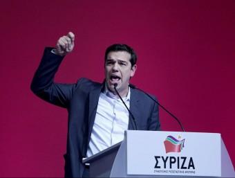 Alexis Tsipras, líder de Syriza en un acte de campanya electoral a Atenes.  ARXIU /AFP