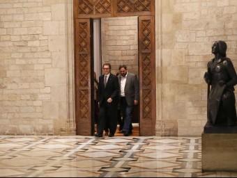 Artur Mas i Oriol Junqueras, al Palau de la Generalitat, el 14 de gener del 2015 REUTERS