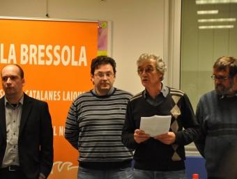 De dreta a esquerra Andreu Balent secretari de La Bressola, Gerard Thorent president, Aleix Andreu president dels Amics de La Bressola i Ramon Pifarré vicepresident dels Amics de La Bressola.