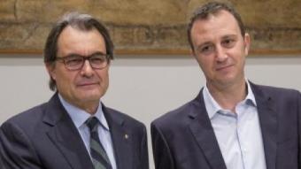 Artur Mas i Raimon Masllorens, president de la federació d'associacions de productors PROA ALBERT SALAMÉ
