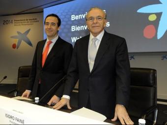 Gonzalo Gortázar i Isidre Fainé, conseller delegat i president de CaixaBank, respectivament.  ARXIU