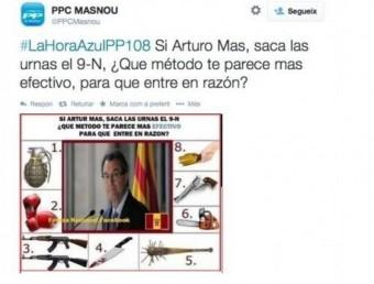 Captura de la piulada publicada en el compte de twitter del PPC del Masnou, gestionat per Martínez. ARXIU