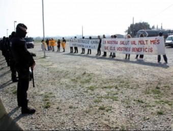 La concentració de protesta a Peralada. ACN
