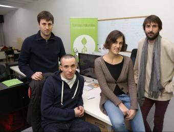 David Rajadel, Pau Puigpey, Nahia Barbería i Carlos Llusá, a la seu barcelonina de Formas Naturales.  ANDREU PUIG