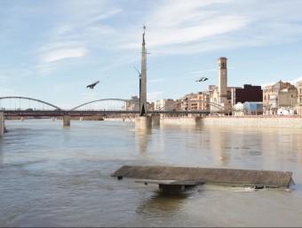 L'embarcador de l'Escorxador, que es traslladarà de lloc, inundat. JUDIT FERNÀNDEZ