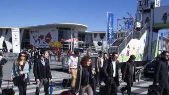Visitants del congrés marxant de la fira de Barcelona ahir a la tarda. JOSEP LOSADA