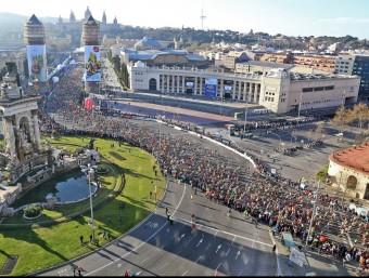 La Marató de Barcelona, a la imatge, l'edició de l'any passat, té un 40% de participants estrangers.  JUANMA RAMOS
