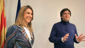 Plana i Puigdemont , el dia que van oficialitzar l'acord d'Avancem i CiU a Girona.