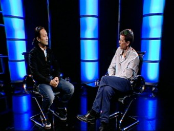 Didac talking to Neil Stokes on El Punt Avui TV. /  ARCHIVE