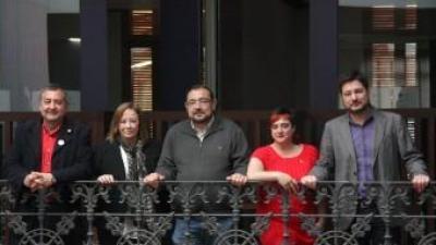 García, Sanz, Cerdà,Peris i Blanco en la presentació de la coalició. ACN