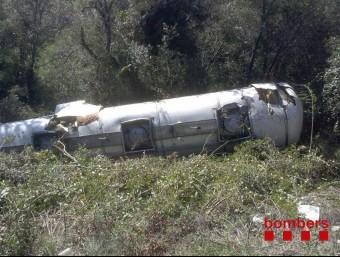 L'accident es va produir poc abans de les deu del matí a l'alçada del quilòmetre 27,9 de la GI-531 BOMBERS DE LA GENERALITAT