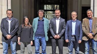 D'esquerra a dreta, alguns candidats: Isaac Albert (ERC), Maria Sirvent (CUP), Xavi Matilla (Terrassa en Comú), Jordi Ballart (PSC), Gabi Turmo (PP) i Miquel Sàmper (CiU) J. RAMOS