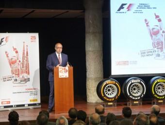 Felip Puig, conseller d'Empresa i Ocupació, durant la presentació del 25è Gran Premi de F-1 al Circuit de Barcelona-Catalunya, ahir MIQUEL ROVIRA
