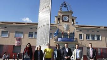 Els candidats. D'esquerra a dreta, Àlex Sevilla (ICV-EUiA), Belén Alonso (ERC), Aitor Blanc (SOM), Núria Parlon (PSC), Carles Comarros (CiU), Dimas Gragera (C's) i Óscar Gomez (UPyD) O. DURAN