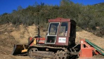 Maquinària pesant participa en la destrucció del bosc de Xulella. CEDIDA AE AGRÓ