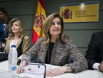 La ministra d'Ocupació, Fátima Báñez, en la conferència sectorial del 13 d'abril.  EFE