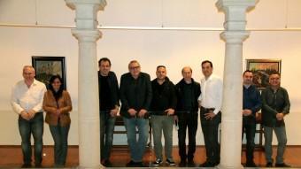 Els nou alcaldables que el 24-M competiran a Sant Feliu de Guíxols: Joan Alfons Albó (CiU), Elena Delgado (CUP), Jordi Lloveras (GdC), Pere Albó (Mes), José Antonio Rodríguez (TUG), Jordi Vilà (ERC), Carles Motas (TSF), Abraham Albert Rodríguez (PP) i Josep Melcior Muñoz (PSC), dijous, abans d'un ple E.A