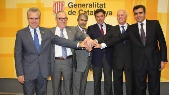 Granados (a l'extrem esquerre) ) en la presentació inicial del projecte BCN World, el setembre de 2012 ARXIU