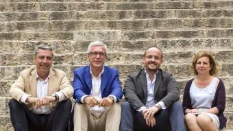 D'esquerra a dreta, Albert Abelló (CiU), Josep Fèlix Ballesteros (PSC), Alejandro Fernández (PP) i Arga Sentís (ICV), alcaldables de les quatre forces ara amb representació a l'Ajuntament. PSC, CiU i PP van vetar que a la fotografia apareguessin els altres quatre candidats sense representació que aquest diari volia convidar (ERC, Ciutadans, CUP i Ara Tarragona) JOSÉ CARLOS LEÓN