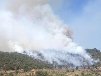 Vista de la zona afectada per l'incendi forestal, al nucli de Rocallaura de Vallbona de les Monges BOMBERS DE LA GENERALITAT