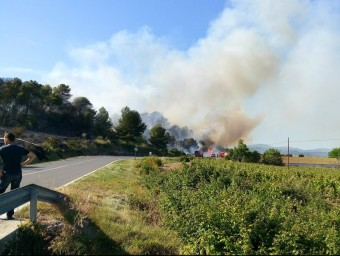 Les flames a Vila-rodona i el Pla de Santa Maria han arribat a tocar de la carretera ACN