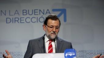 El president del PP i del govern espanyol, Mariano Rajoy, durant la roda de premsa en què ha fet balanç dels resultats del 24-M REUTERS