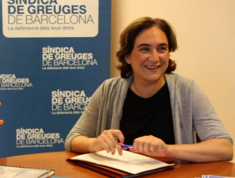 L'alcaldessa de Barcelona, Ada Colau, a la síndica de greuges ahir ACN