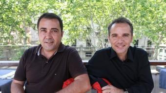 Jordi (esquerra) i Carlos Grangel han estat homenatjats a la fira b'Ars
