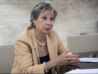 La directora de l'Observatori Dona, Empresa i Economia, Ana Mercadé, a la seu de la Cambra de Barcelona durant l'entrevista.  JOSEP LOSADA