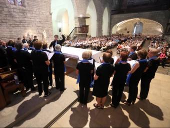 Una de les actuacions d'ahir a la tarda a Santa Maria dels Turers. QUIM PUIG