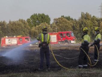 Les flames van calcinar 1.100 m² a Montfullà, al terme de Bescanó. JORDI RIBOT (ICONNA)