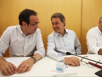 Josep Rull, Artur Mas i Lluís Corominas, ahir, en l'executiva de Convergència ELISABETH MAGRE