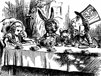 One of the original illustrations for the book by John Tenniel depicting the Tea Party.  ARCHIVE