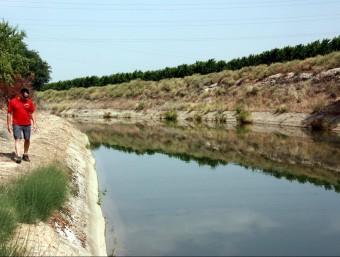 Un efectiu dels GRAE resseguint el canal de Seròs dimarts passat ACN