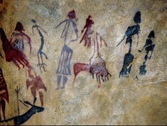 Part del conjunt de pintures rupestres de la Roca dels Moros.  DEPARTAMENT DE CULTURA