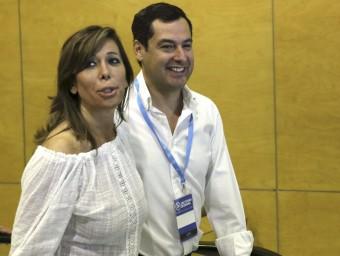 La presidenta del PP de Catalunya, Alícia Sánchez-Camacho, i el seu homòleg andalús, Juanma Moreno, aquest dissabte a la Conferència Política del partit EFE