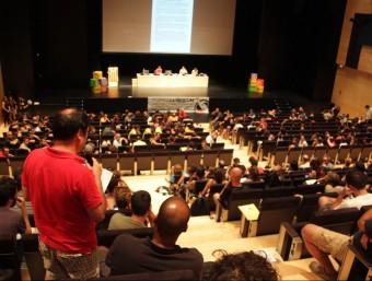 Un moment de l'Assemblea Nacional de la CUP, celebrada aquest dissabte a la Universitat Jaume I de Castelló de la Plana ACN