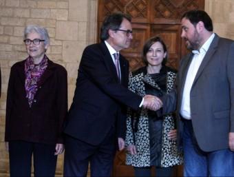 Casals, Mas, Forcadell i Junqueras, el 14 de gener passat, quan va firmar l'acord a les entitats ACN