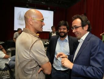 Raül Romeva al costat de Josep Rull en una sessió d'El Moment Zero ANDREU PUIG