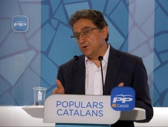 El portaveu parlamentari del PPC, Enric Millo, en roda de premsa aquest dilluns ACN