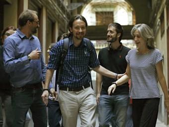Pablo Iglesias amb els coordinadors nacionals d'ICV, Joan Herrera i Dolors Camats