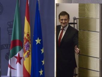 Rajoy, arribant a la roda de premsa que va oferir ahir a la tarda PIERRE-PHILIPPE MARCOU / AFP