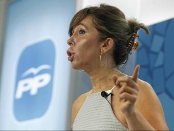Sánchez-Camacho, durant una roda de premsa EFE