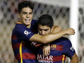 Bartra i Suárez celebren el primer gol de la pretemporada MIGUEL RUIZ - FCB