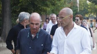 Lluís Llach i Raül Romeva, caps de lista de Junts pel Sí. ORIOL DURAN