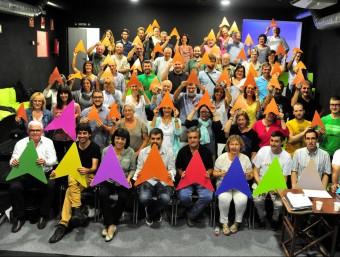 oto de família del Secretariat Nacional de l'ANC amb els punters de colors que protagonitzaran la Via Lliure, amb una imatge captada aquest dissabte 5 de setembre de 2015 ACN