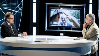 Artur Mas i Xevi Xirgo durant l'entrevista d'ahir a El Punt Avui TV ALBERT SALAMÉ
