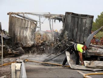 L'accident de dilluns va provocarl'incendi d'un camió i es va saldar amb tres víctimes mortals. ACE